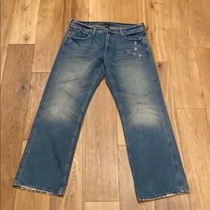 Men's e•col•o•gie distressed denim jeans